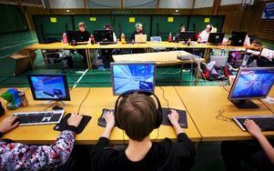 Det sker både lag och individuellt spel i turneringsform under öppet LAN i Häggenås.Foto: Håkan Luthman