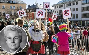 Det är självklart att det låter hur bra som helst att demonstrera mot nazismen och skrika att det inte skall finnas några rasister på våra gator, men det gör ingen skillnad, det är en fis i rymden om något, skriver Daniel Lönn, ordförande för Moderat skolungdom. Bilden är ett montage.