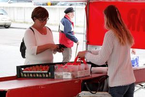 Tilda Engstrand ägnar sommaren åt att sälja jordgubbar åt förbipasserande semesterfirare.