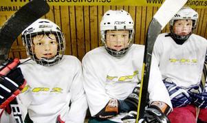 """William Olofsson och Lukas Kindberg från Östersund vilar ut tillsammans med Philip Henriksson från Stockholm. """"Hockey är det bästa som finns"""", förklarar William Olofsson."""