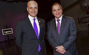 Fredrik Reinfeldt (M) och Stefan Löfven (S) bör inte sätta sig i samma regering, tycker DD:s ledarskribent. Foto: JONAS EKSTRÖMER / TT