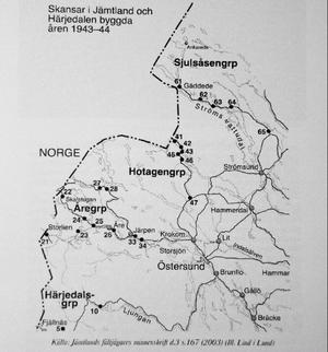 Fältjägarna ha dokumentrat hur skansarna i länet anlades under krigsåren. Anläggningen i Alanäs har nummer 65 i bildens högra övre hörn.