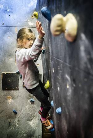 Med stor envishet tog sig 7-åriga Lova Lindqvist upp för en blå led.