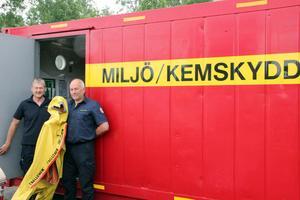 Olle Björk och Peter Nystedt på räddningstjänsten visar utrustningen som ska användas vid till exempel ett kemikalieutsläpp.