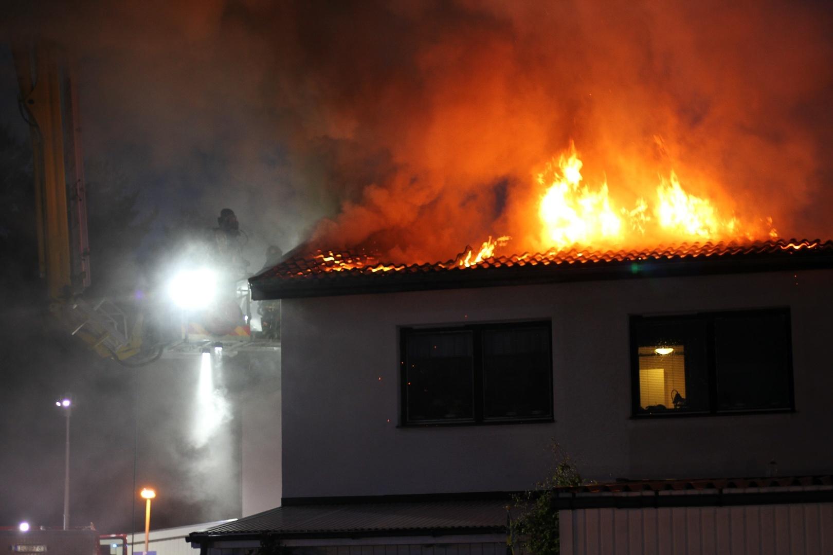 Brand i radhuslanga i gavle