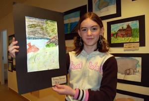 Vatten. Anders Zorn var ju erkänt duktig på att måla vatten. Viktoria Eriksson blev inspirerad av en Zornmålning som hon hittade i en bok och målade denna tavla med akvarellkrita och vatten.