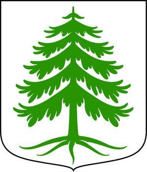 Hedemoras nuvarande kommunvapen, registrerat 1974, är en grön gran i ett fält av silver.