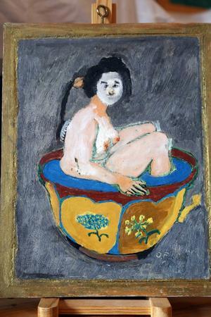 Flickan i badet målade Oskar Fredriksson 1973.