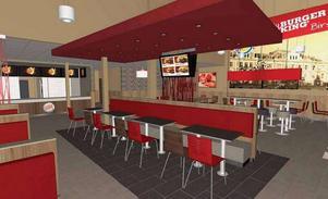 Här är en skiss som visar hur den nya restaurangen i Biltemas gamla lokaler kommer att se ut.