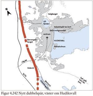 Det första alternativet är nytt dubbelspår väster om tätorten längs nya E4. Då behövs en ny järnvägsstation väster om staden, troligtvis vid riksväg 84.