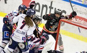 Luleås superstjärna Michelle Karvinen jublar över ett av sina många poäng i Luleå-tröjan.