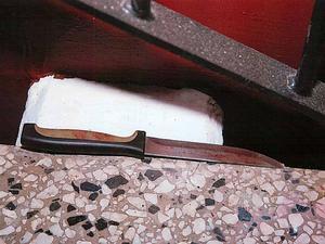 Den kniv som polisen fann vid brottsplatsen.
