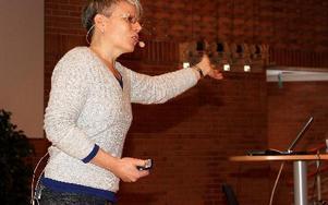 Karin Hammarlund förklarade vikten av att ha en holistisk syn på lanskapsbilden för att människor inte ska uppleva att deras vyer förändras utan att de blir delaktiga.Foto: Lena Relte