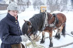 Sigvard Svendsen är ordförande för Dalarna Femund Forkörarförening, här med sin Ynar, en nordsvensk/döl valack, på plats i Lillhärdal efter tre dagars färd genom storskogen.