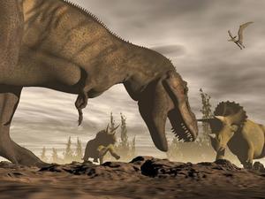Tyrannosaurus och Triceratops var bland de sista dinosaurierna. De dog ut vid katastrofen för 66 miljoner år sedan, liksom de flesta av de små däggdjur som levde i deras skugga.   Fotolia
