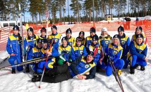 Medaljregn. Dalaåkarna körde hem många medaljer under Kalle Anka Cup. En krånglig och illa omtyckt regel gjorde dock att Norrbotten tog hem lagtävlingen. Här är hela dalagänget samlat med ledaren Jörgen Dyvik liggande.
