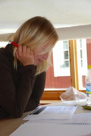 Erika Vestlund studerar sociologi vid högskolan, men använder biblioteket som läsesal.
