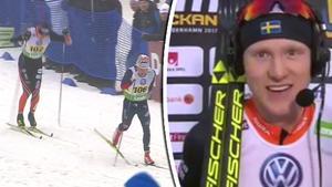 Oskar Svensson vann efter att ha gömt sig i rygg bakom Jens Burman.