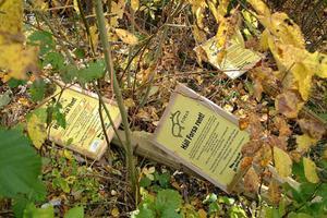 Skyltar med vädjan om en ren badplats har ryckts upp och slängts i skogen.