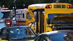 En bilist körde på flera personer i närheten av World Trade Center Memorial på tisdagskvällen.