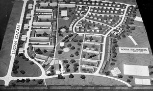 Ny då. Så här såg modellen av stadsdelen Norra Malmaberg ut. VLT kunde 8 oktober 1955 berätta om «den allra nyaste stadsdelen i Västerås«. Ett par år senare flyttade folk in.