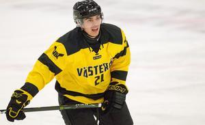 Fredrik Hetta i VIK:s försäsongströja, som har samma gula färg som den som kommer användas under säsongen.