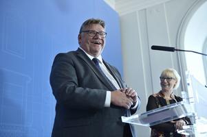 Finlands utrikesminister Timo Soini och utrikesminister Margot Wallström (S) håller pressträff på UD i Stockholm i augusti 2016.