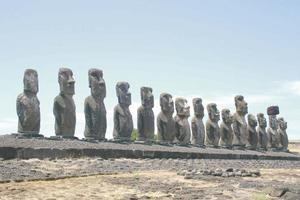 De 15 moais som bildar den största ahun vid Tongariki. Bild: Lars Alenius.