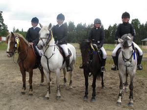 det segrande Ringnäslaget, från vänster: Amanda Hammarström, Mathilda Hammarström, Malin Nordin och Tove Engvall på hästarna Munsboro Cougar, Willams Town Wonder, Munsboro Chilli och Munsboro Elthon.