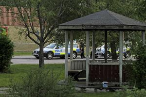 Lusthuset, där brottet inträffade, i centrala Bergsjö.