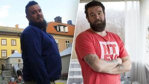 Före och efter, bättre kosthållning och träning gjorde att Kim Larsson tappade 40 kilo.
