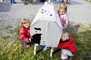 Tuva Jakobsson, Sigrid Jakobsson och Moa Falkenström passade på att mjölka kon.