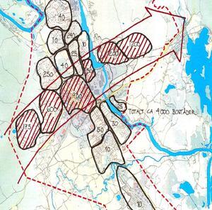 Förtätning föreslås genom omvandling av redan exploaterad mark och genom att bygga samman befintliga stadsdelar. Utbyggnad med nya områden sker i riktning mot Falun.