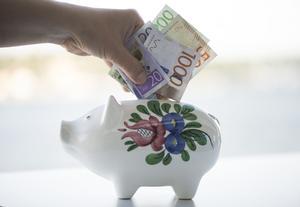 STOCKHOLM 20151002Spargris med de nya svenska sedlarna 20, 50, 200,  och tusen kronor. 100 och femhundrakronorssedlarna släpps om ett år.Foto: Fredrik Sandberg / TT / Kod 10080