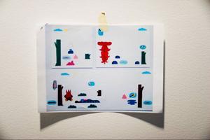 Planen för Carl-Anders Thorheims färgmättade verk De fyra elementen som möter i entrén.