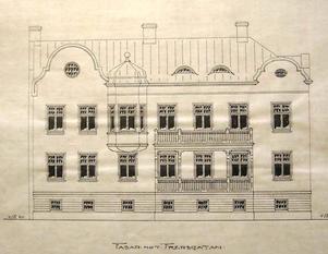 Fasad mot Fredsgatan. Nu ska det gamla jugendhuset vid USÖ renoveras. Huset återskapas som det såg ut 1905, vilket denna bild visar.