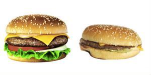 Max Originalburgare, reklam jämfört med verklig produkt.Pris: 41 kr. Beskrivning: Hamburgare med cheddarost, tomat, isbergssallad, lök, ketchup, dressing och sesambröd.