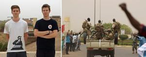 Markus Allard (till vänster) och Edvard Welander sitetr fast i ett oroligt Mali.