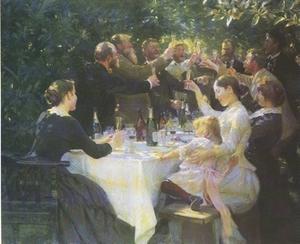 """""""Hipp, hipp, hurra! Konstnärsfest på Skagen"""", 1888. Kröyer fjärde man från vänster (Tavlan finns på Göteborgs konstmuseum)."""