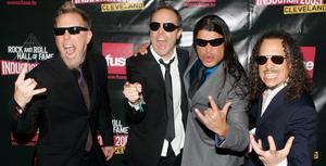 På lördag gör Metallica sin första svenska festivalsspelning. Från vänster: James Hetfield, Lars Ulrich, Robert Trujillo och Kirk Hammett.