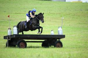 Frida Anderzén och Herta från Hofors lyfter över ett av terrängbanans udda hinder och säkrar segern i young rider-SM.