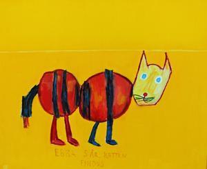 Målning av Olle Gustafsson efter en barnteckning av Ebba Burholm, fem år.