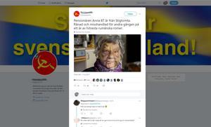 Enligt mannen som spred det falska inlägget på Facebook hade han hittat bilden och historien på Twitter. Vi hittade mycket riktigt samma bild där, delad den femte juli i år. Men då med den tidigare historien om Anna, 87 år, från Stigtomta.