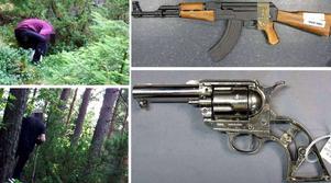 Knarkgömma i Borlänge. Polisen hittade även vapen hos de åtta misstänkta som nu åtalas misstänkta för flera brott.