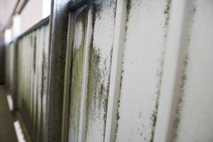 På varje våning finns balkonger. Där har det  bildats mögel på plåten.