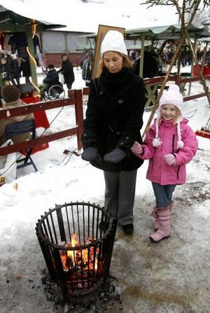 Therese Wuolle besökte marknaden med barnen Sonja och Alice och Ann-Britt Nordström.