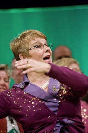 Näringsminister Maud Olofsson blir uppvaktad...
