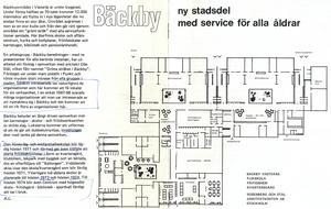 Broschyr från 1970 som beskriver det nya Bäckbyområdet som är under uppbyggnad, där 12 000 människor ska flytta in i lägenheter där nu endast finns en stor åker.
