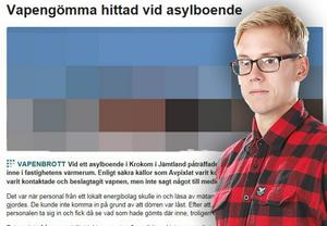 Bilden är ett montage med en skärmdump av Avpixlats artikel och en bild på ÖP:s krimreporter Per Arnsäter.