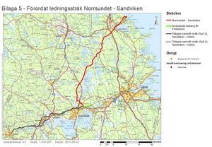 Här är den planerade sträckningen för Swedegas naturgasledning. Ur företagets samrådsunderlag.